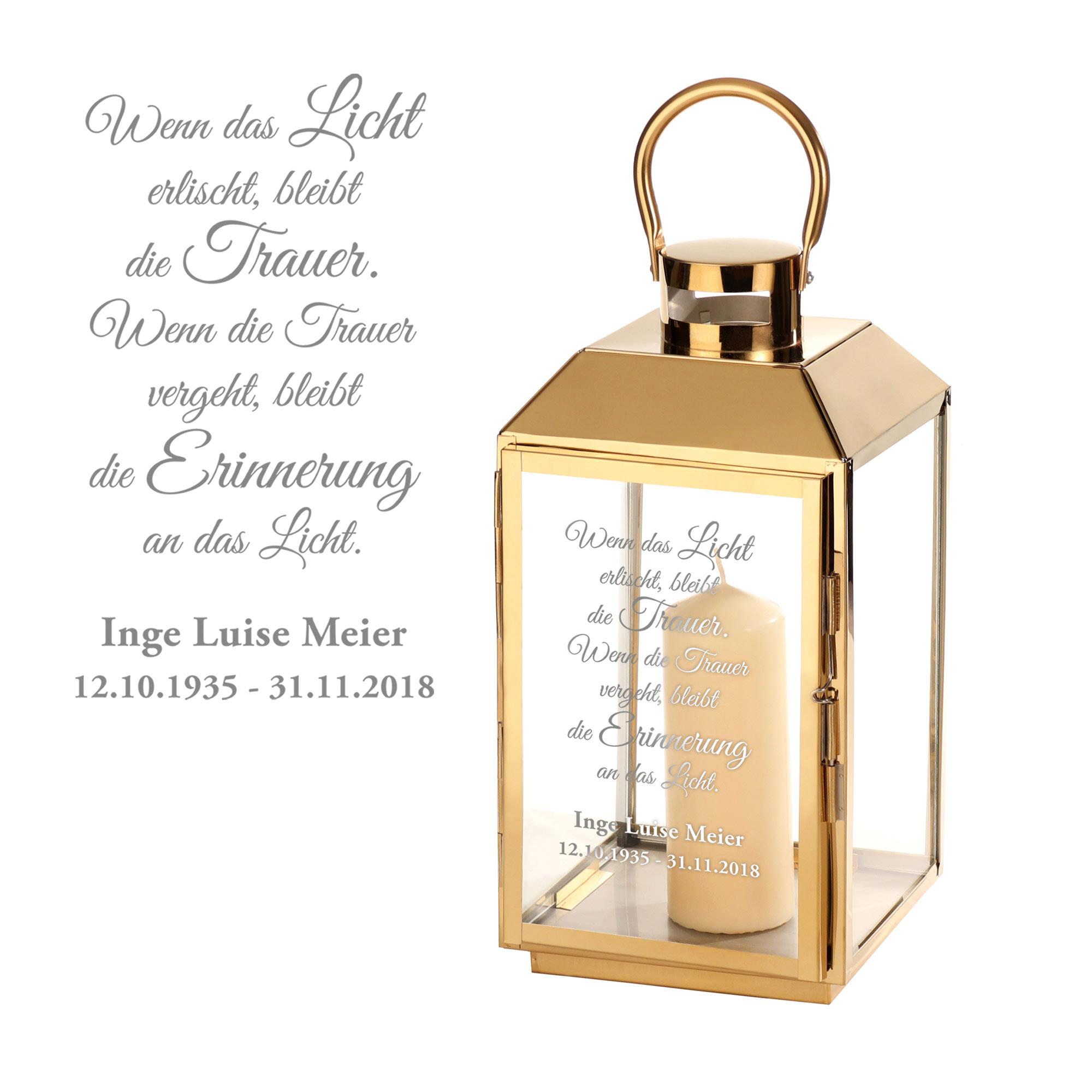 Laterne aus Edelstahl - Graviert mit Trauer Spruch - Personalisiert