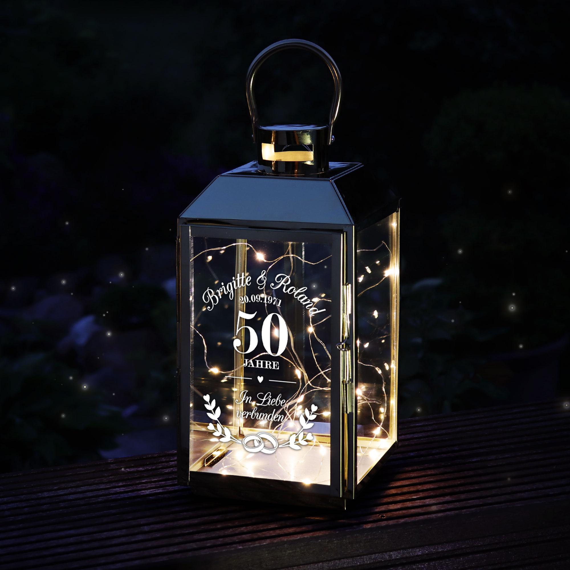 Goldene Laterne aus Edelstahl zur Goldenen Hochzeit - Personalisiert
