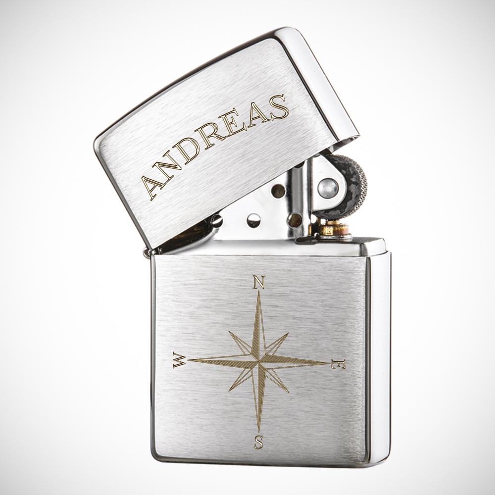 Zippo Feuerzeug - Personalisiert mit Gravur Kompass