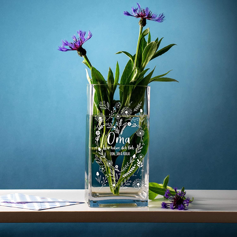 Vase aus Glas mit Gravur für Oma - Personalisiert