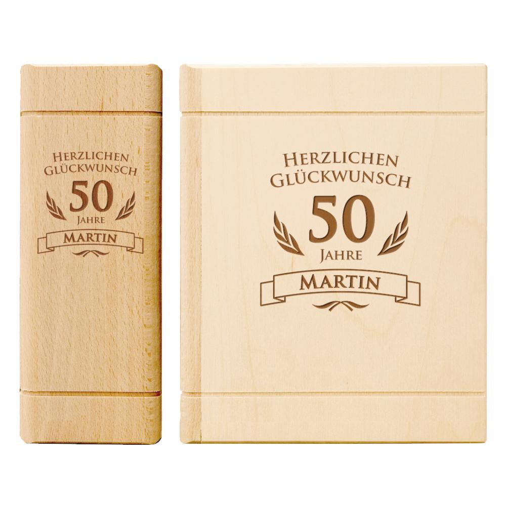 Spardose Buch aus Holz zum 50. Geburtstag - Personalisiert