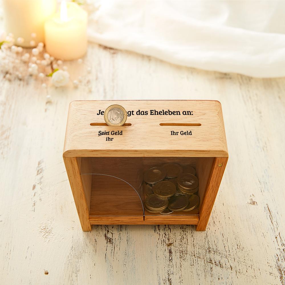 Holz Spardose zur Hochzeit - Er und Sie Trickspardose