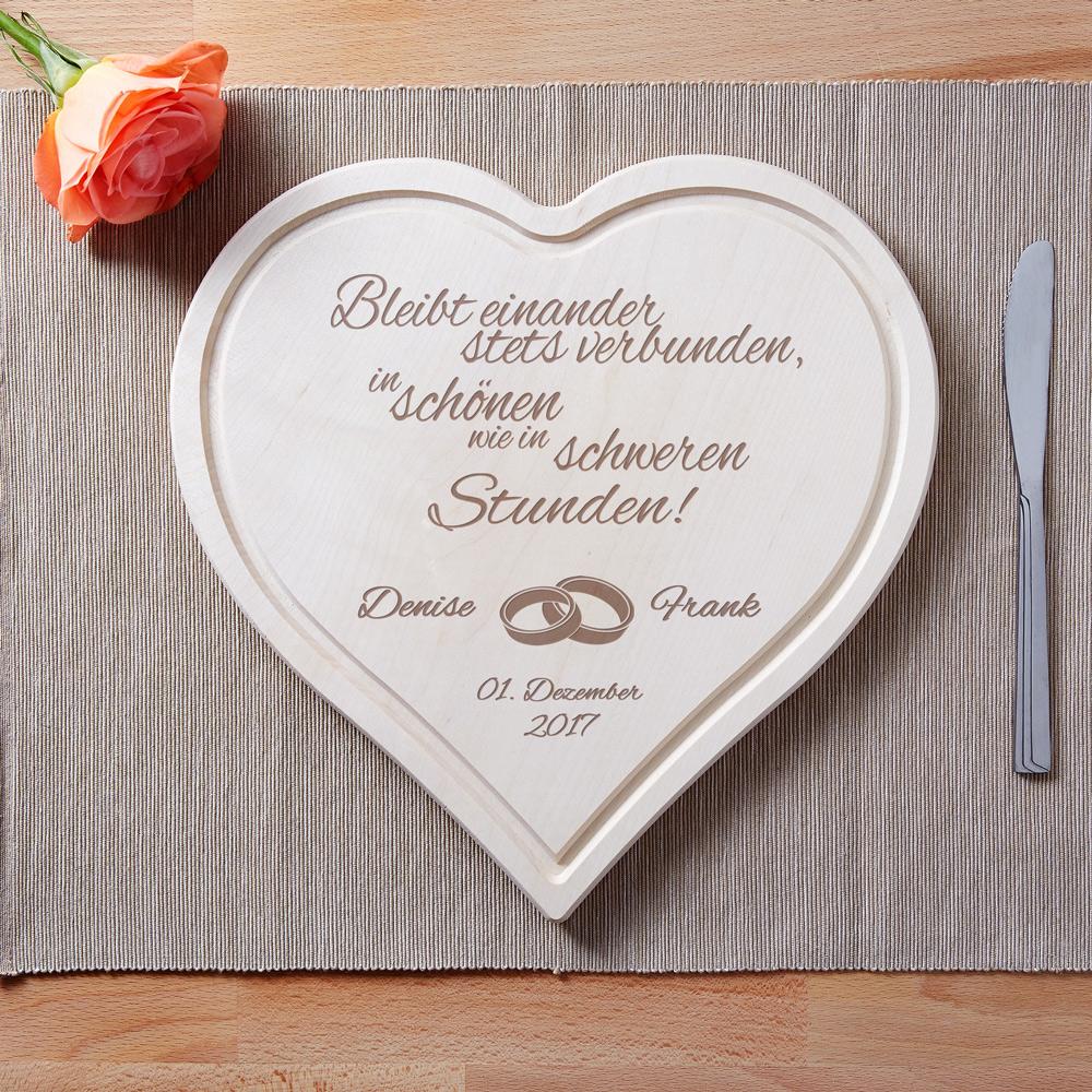 Herzbrett zur Hochzeit - Spruch - Ringe - Personalisiert
