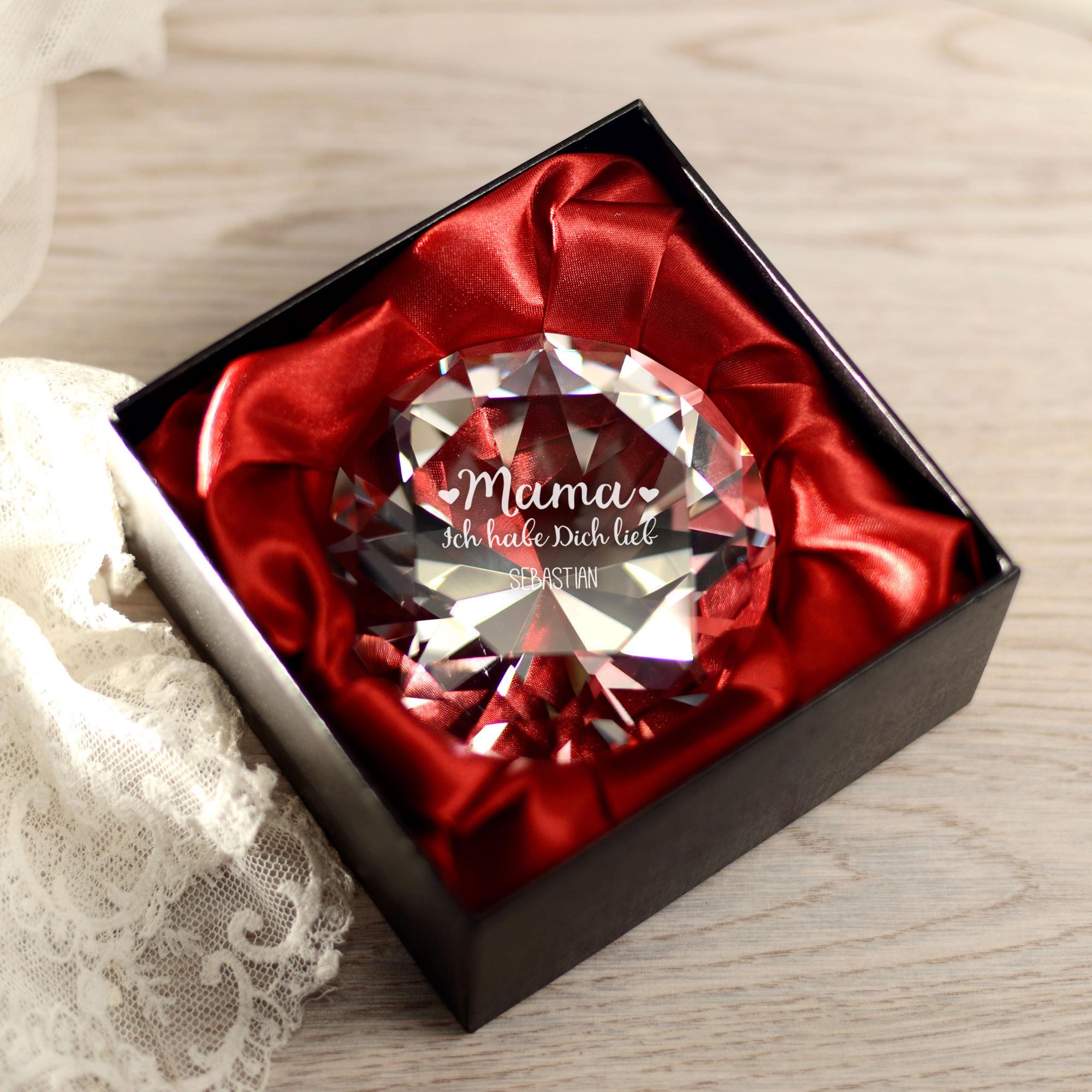 Diamant Kristall mit Gravur - Mama ich habe dich lieb - Personalisiert