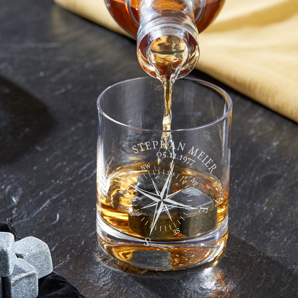 Whiskyglas mit Gravur Kompass - Personalisiert