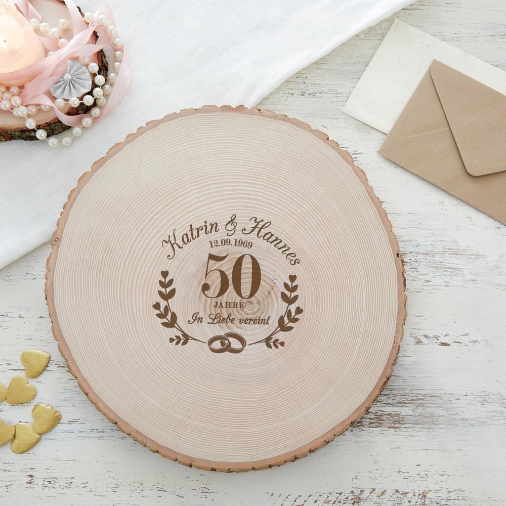 Riesen Baumscheibe mit Gravur - Goldene Hochzeit - Personalisiert