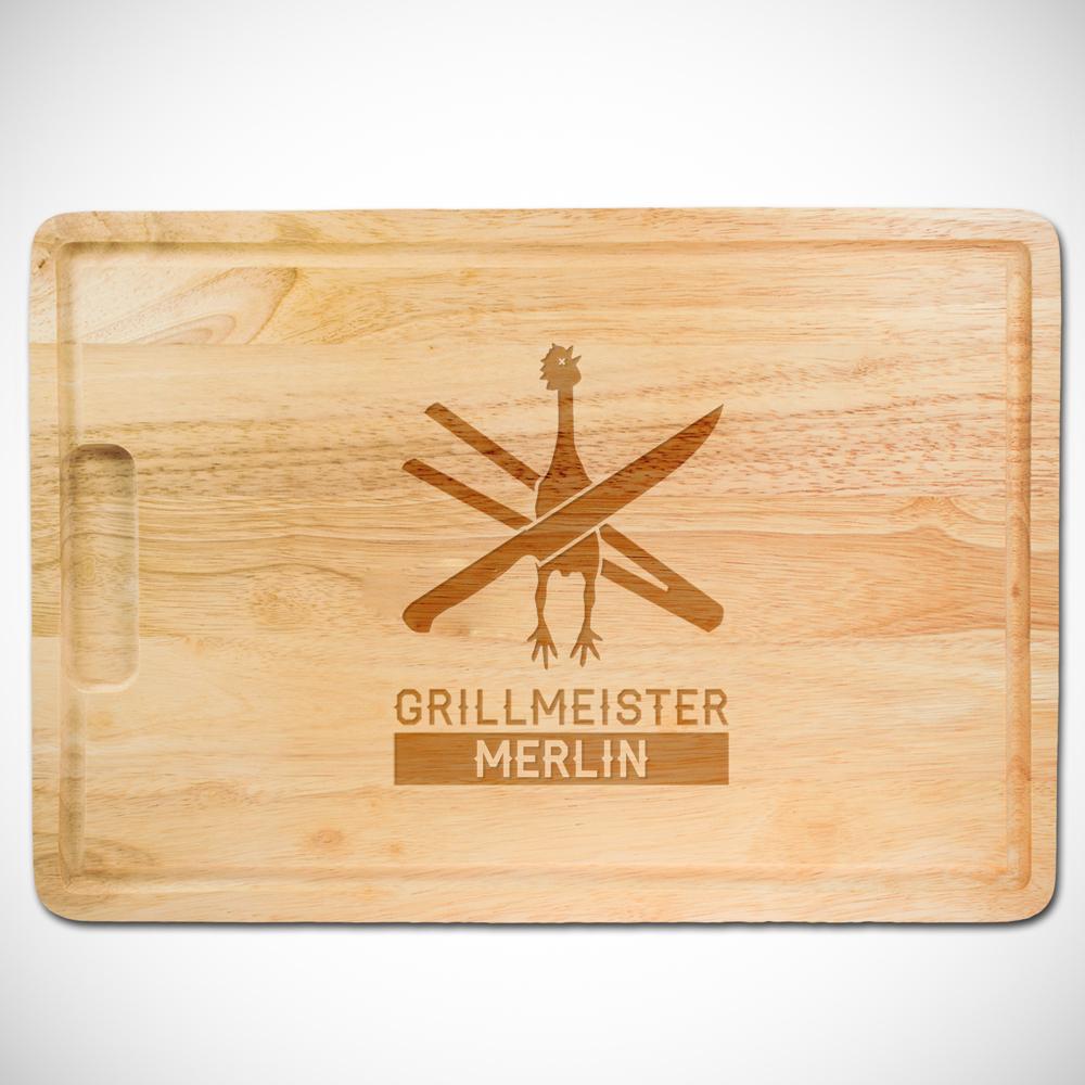 Grillset - Hamburgerpresse und Schneidebrett mit Gravur Grillmeister
