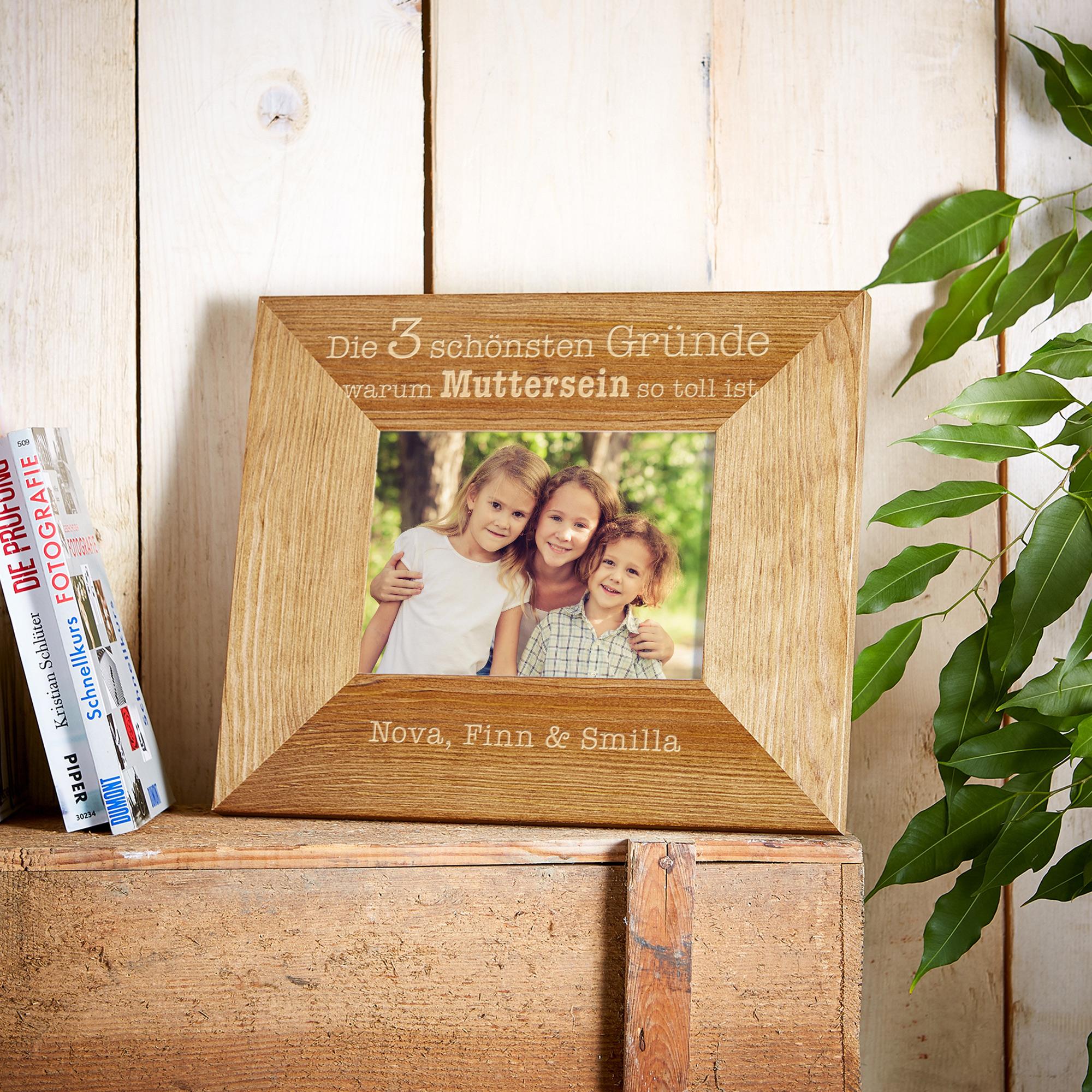 Bilderrahmen aus Holz mit Gravur - Muttersein - Personalisiert