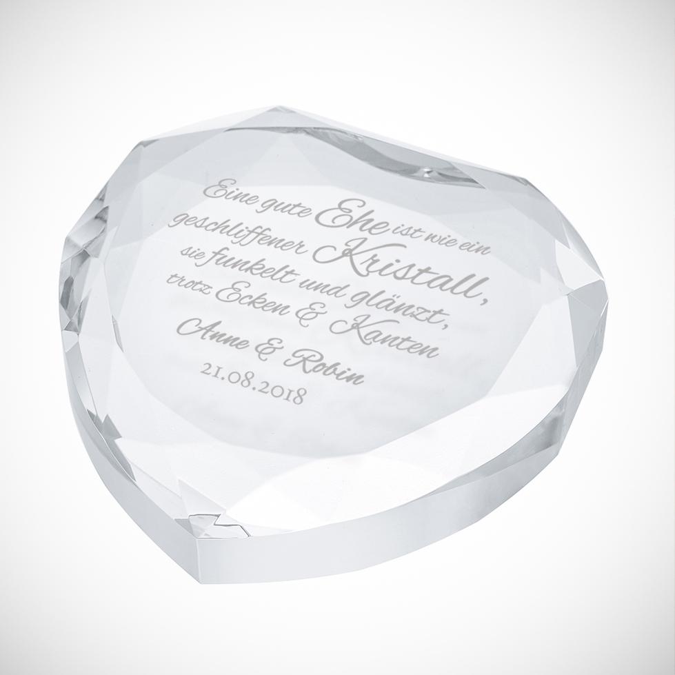 Herzkristall mit Spruch zur Hochzeit - Personalisiert