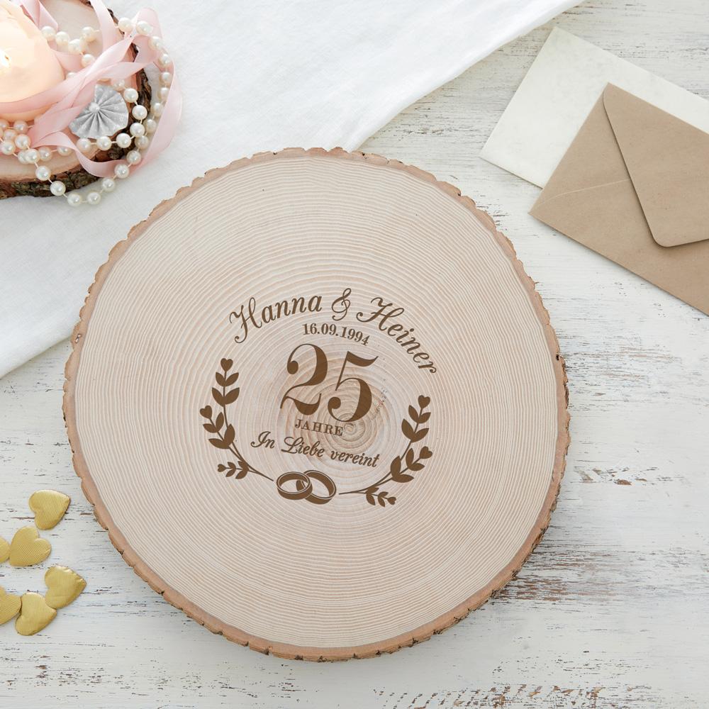 Riesen Baumscheibe mit Gravur -Silberhochzeit - Personalisiert