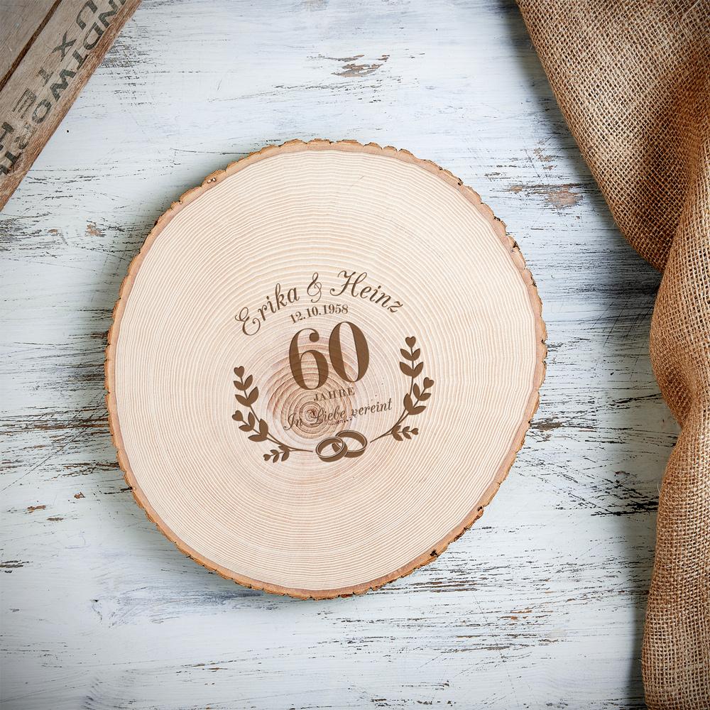 Riesen Baumscheibe mit Gravur - Diamantene Hochzeit - Personalisiert