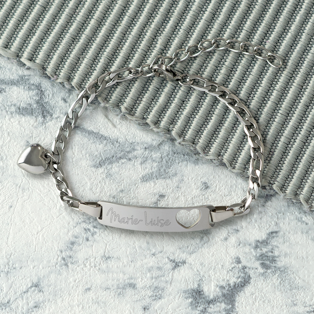 Armband mit Gravur - Name Herz Silber - Personalisiert
