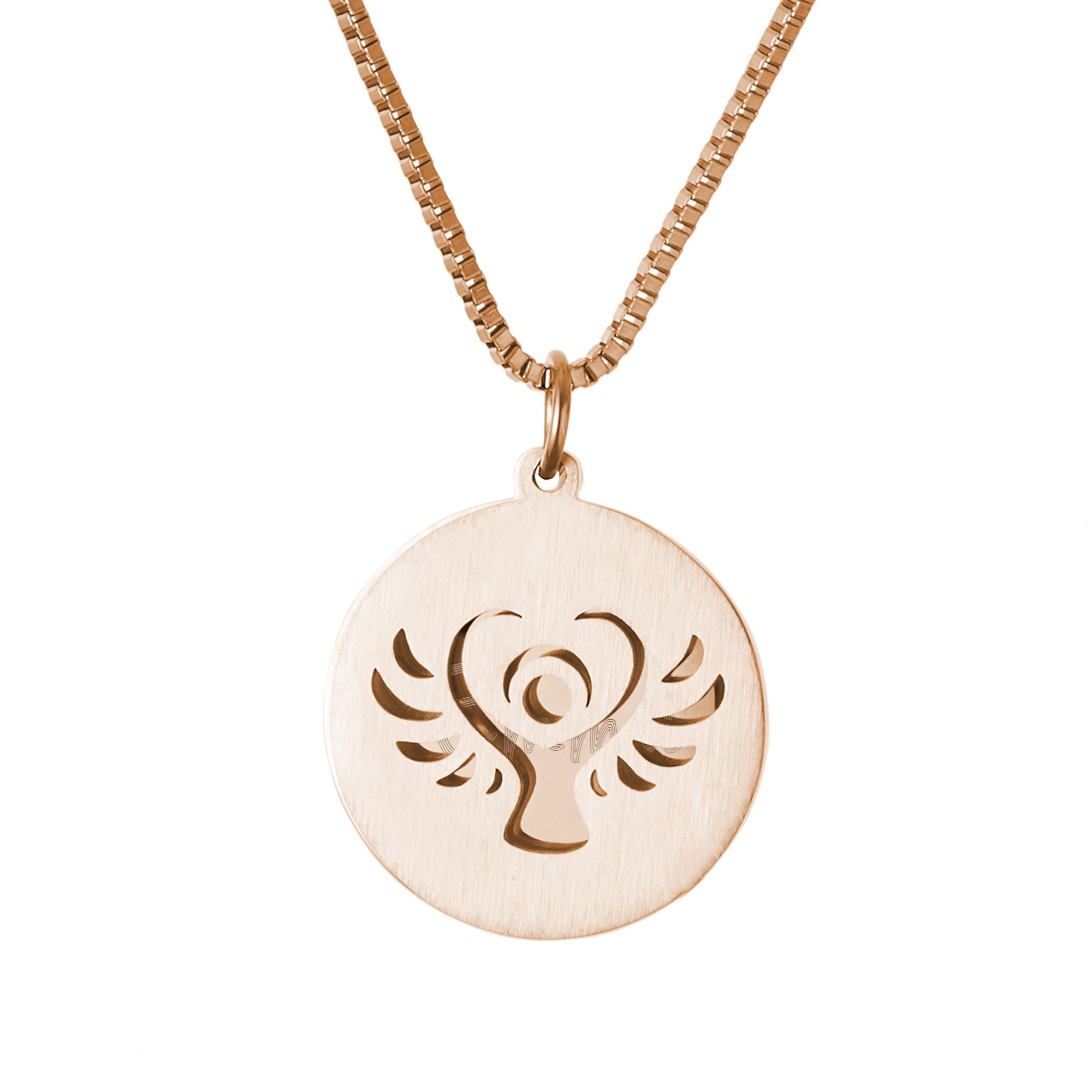 Halskette mit Gravur - Schutzengel und Name und Datum - Roségold
