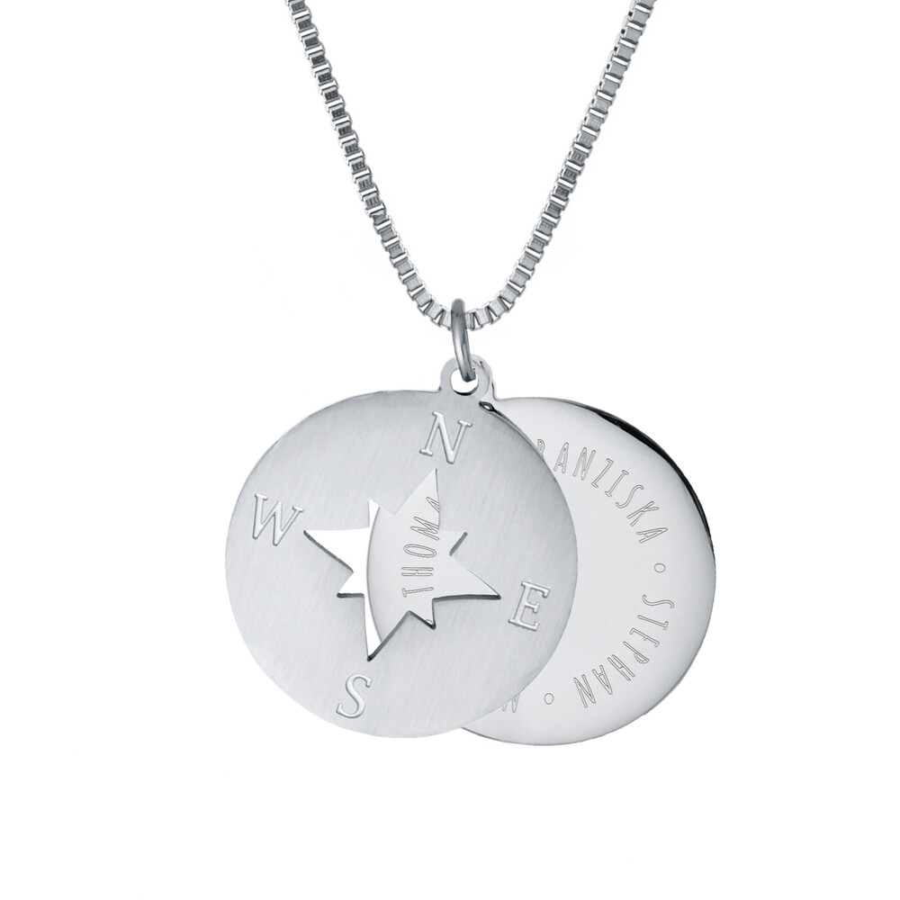Halskette mit Gravur - Kompass und Namen - Silber - Personalisiert