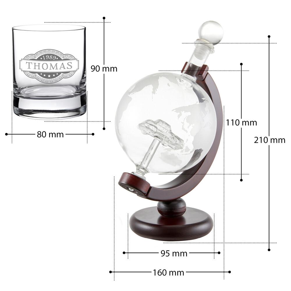 Whiskyset - Karaffe Globus mit Auto und Whiskyglas - Banderole - Personalisiert