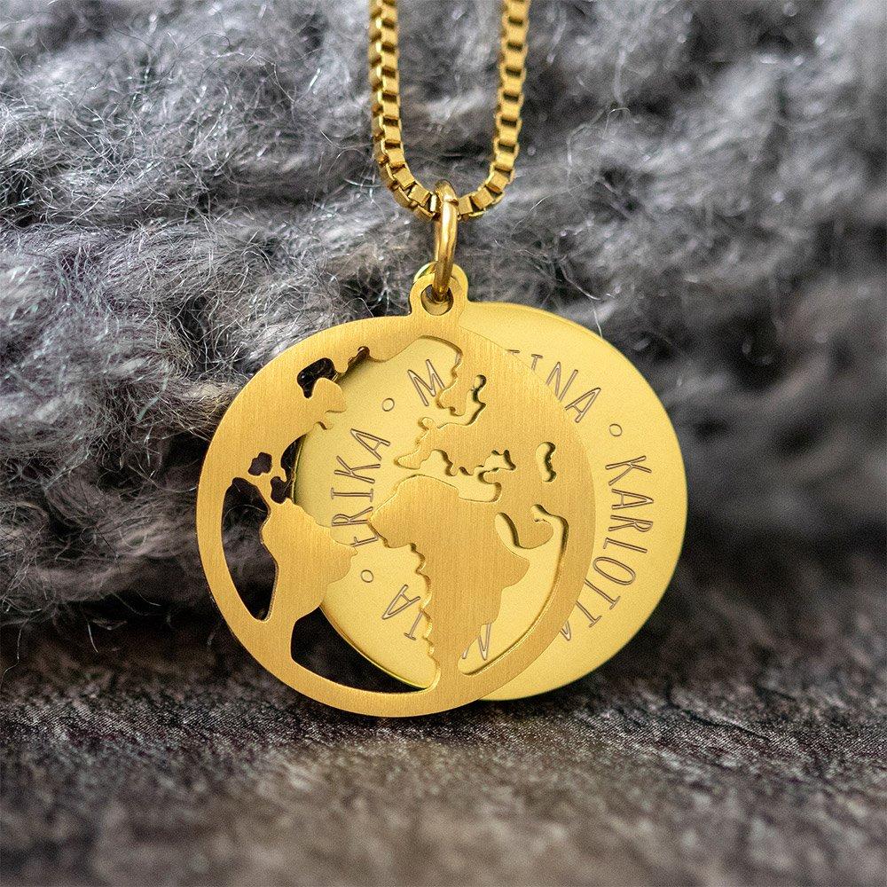 Halskette mit Gravur - Globus und Namen - Gold - Personalisiert