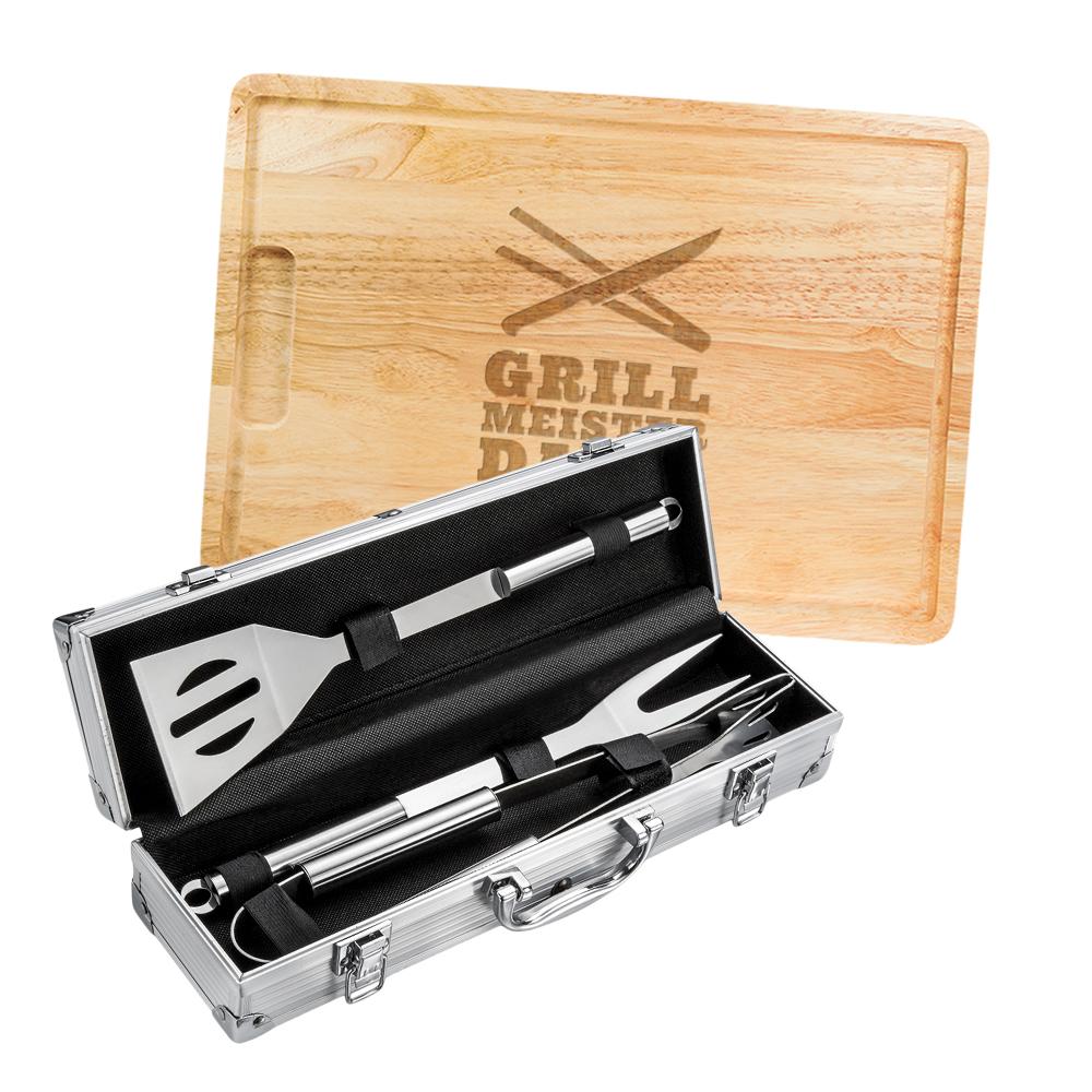 Grillset - Grillbesteck im Koffer und Schneidebrett mit Gravur Grillmeister