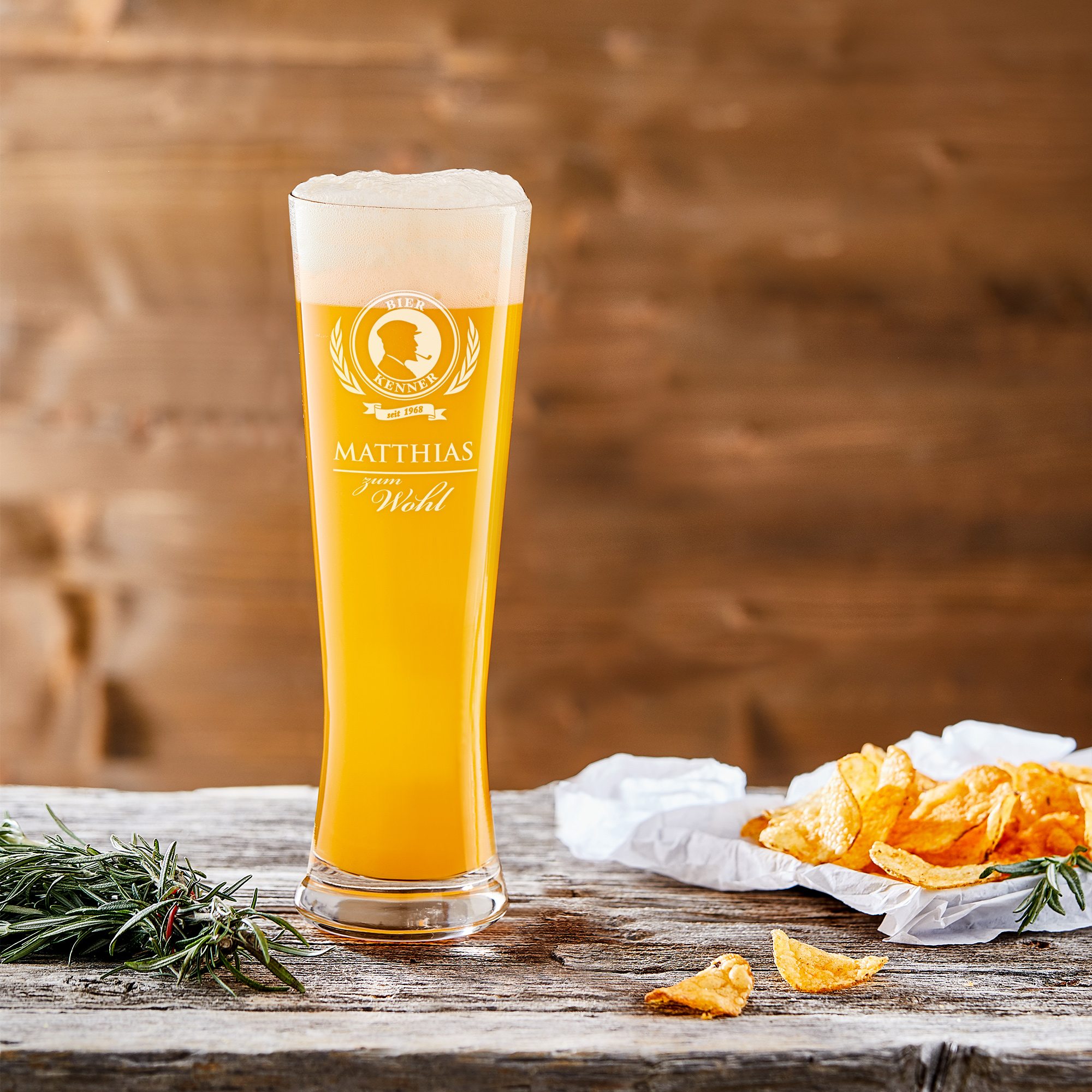 Weizenglas mit Gravur - Bierkenner - Weizenbierglas