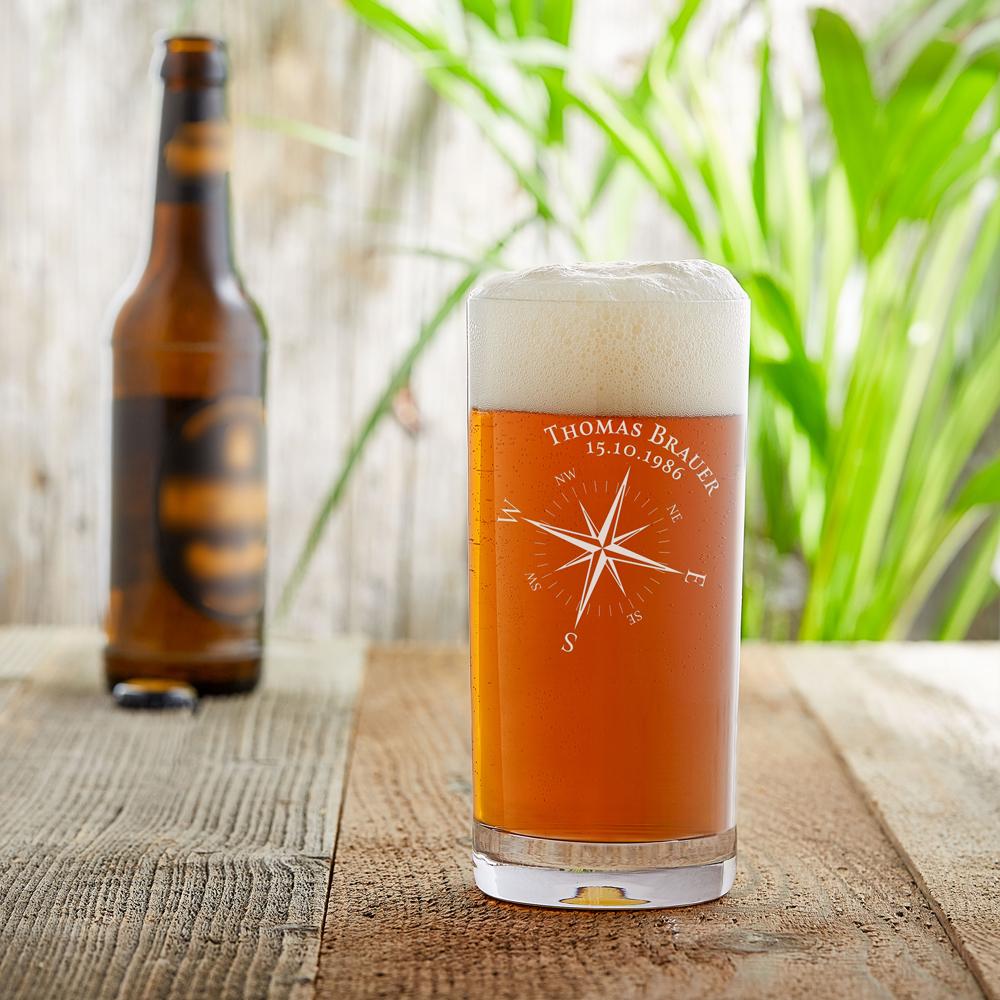 Craft Bier Glas mit Gravur - Kompassrose - Personalisiert