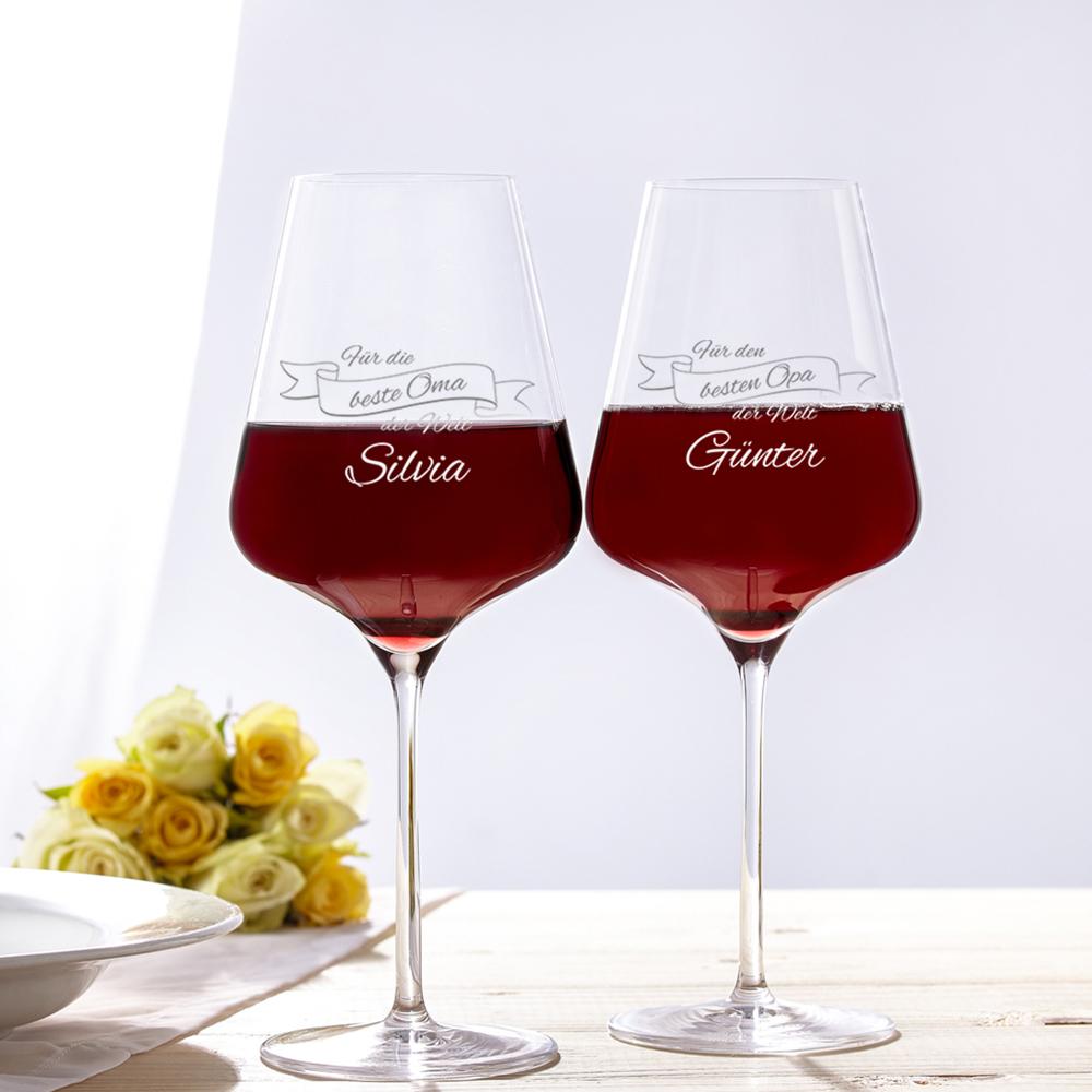 2er Set - Weinglas - Beste Großeltern - Personalisiert