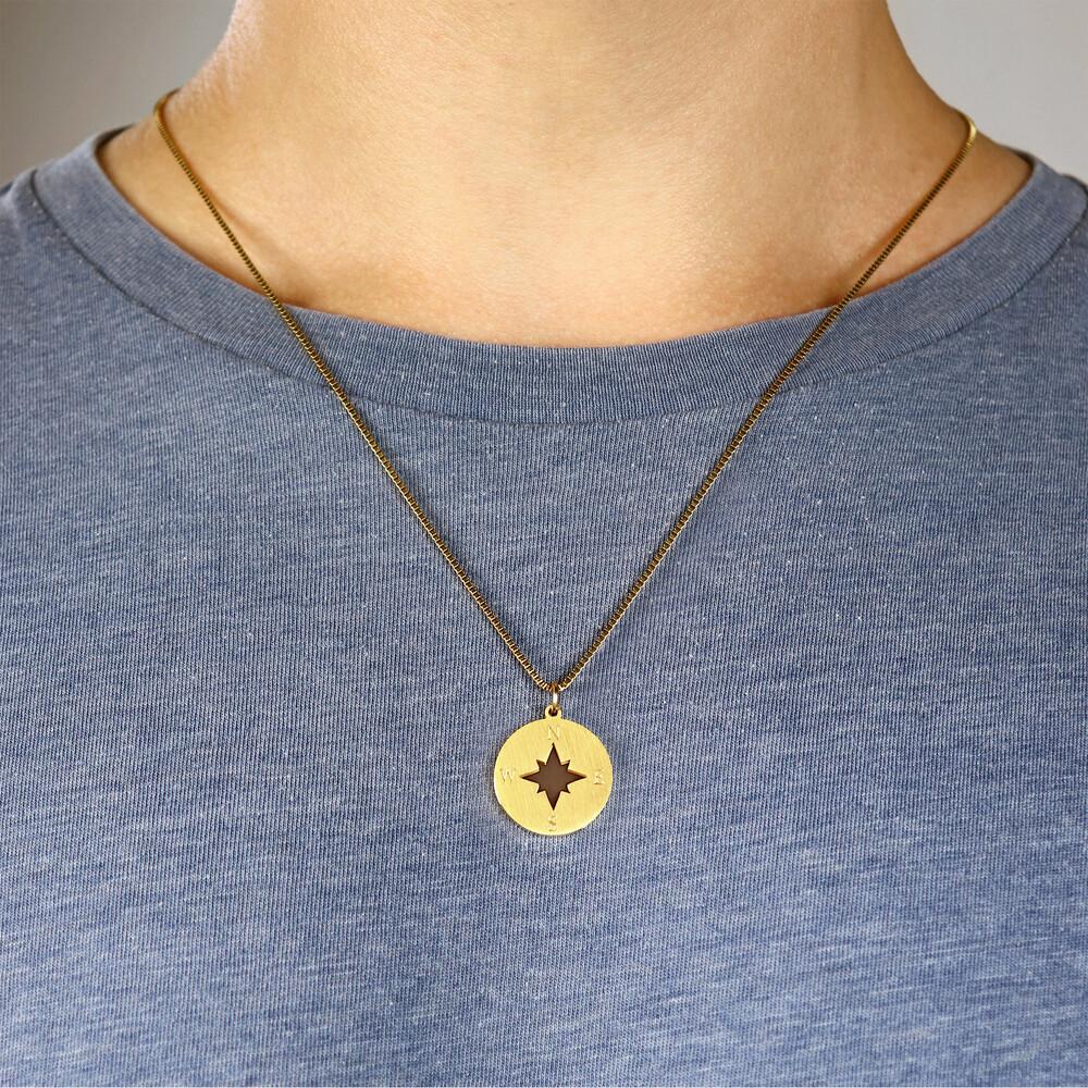 Halskette mit Gravur - Kompass und Namen - Gold - Personalisiert