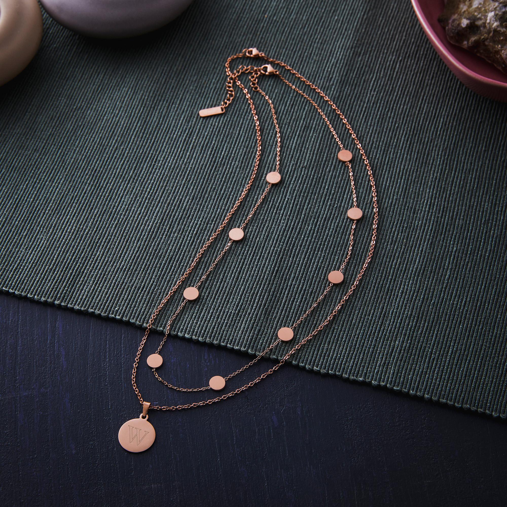 Set - Layering Kette und Halskette mit Anhänger - Initial - Roségold