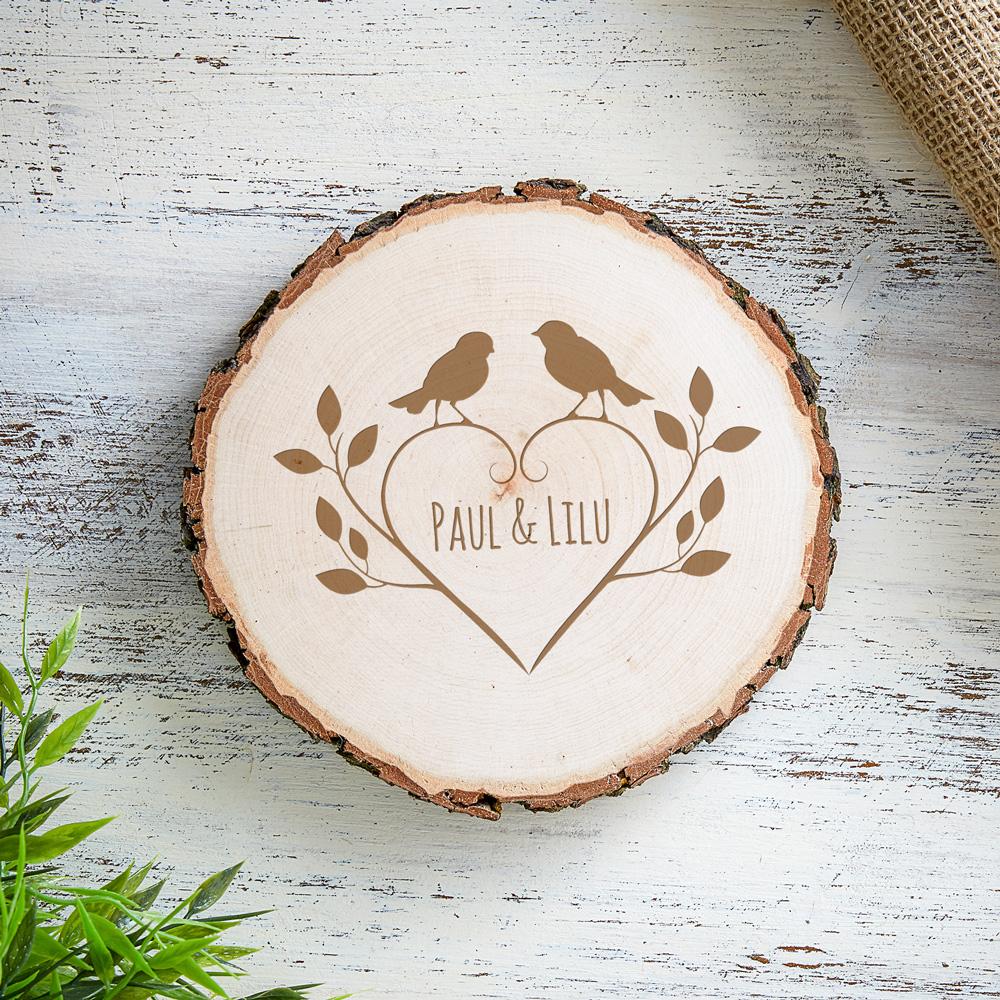 Baumscheibe mit romantischer Gravur - Vögel