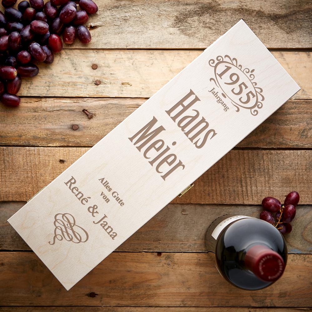 Weinkiste mit Namens- und Jahrgangsgravur - Personalisiert