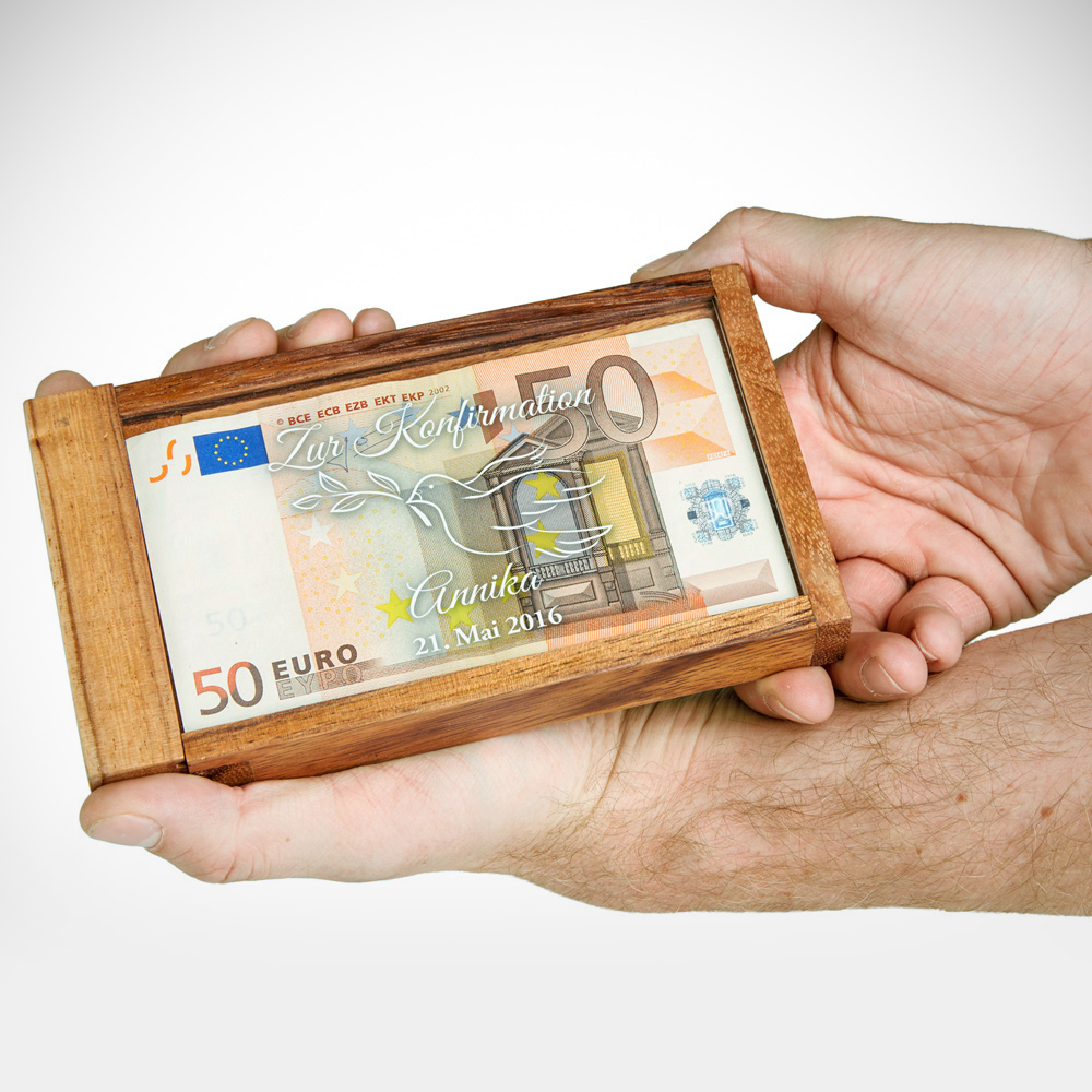Magische Geldgeschenkbox mit Gravur zur Konfirmation