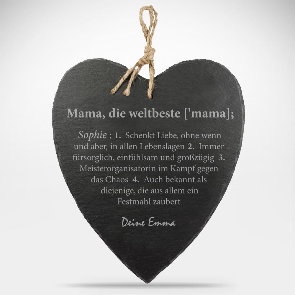 Schieferherz mit Gravur Weltbeste Mama - Lexikondefinition