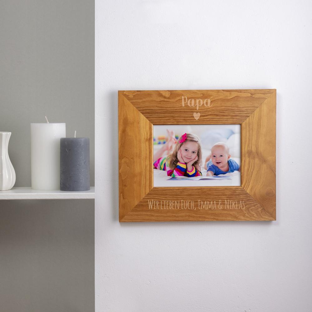 Bilderrahmen aus Holz mit Gravur für Papa - Herz - Personalisiert