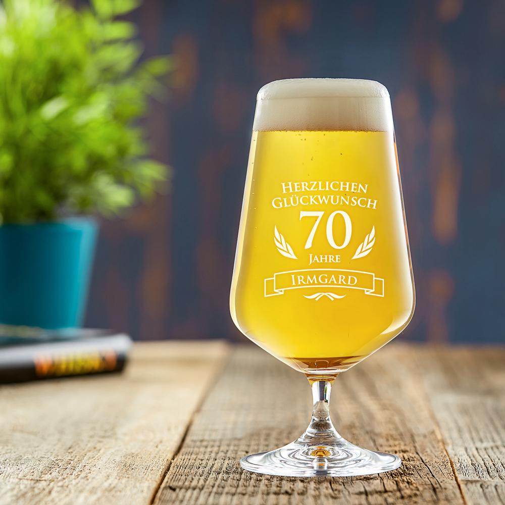 Bierglas mit Gravur - 70. Geburtstag - Pilstulpe - Personalisiert