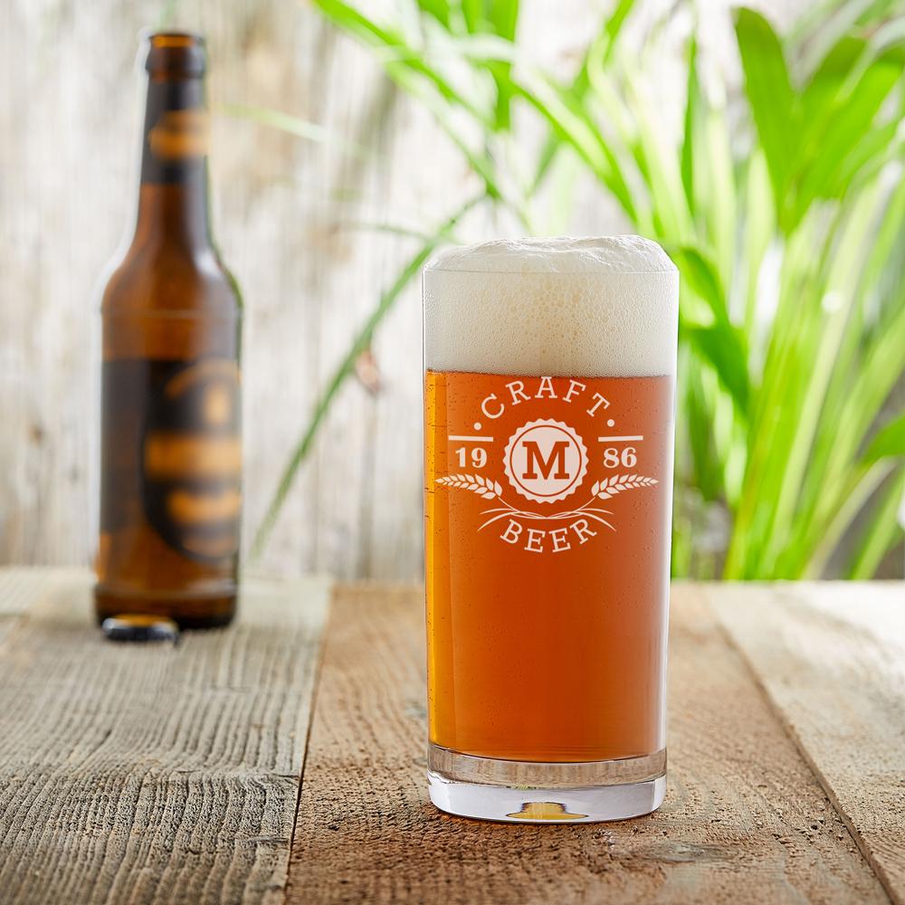 Craft Bier Glas mit Gravur - Ähren und Initialen - Personalisiert
