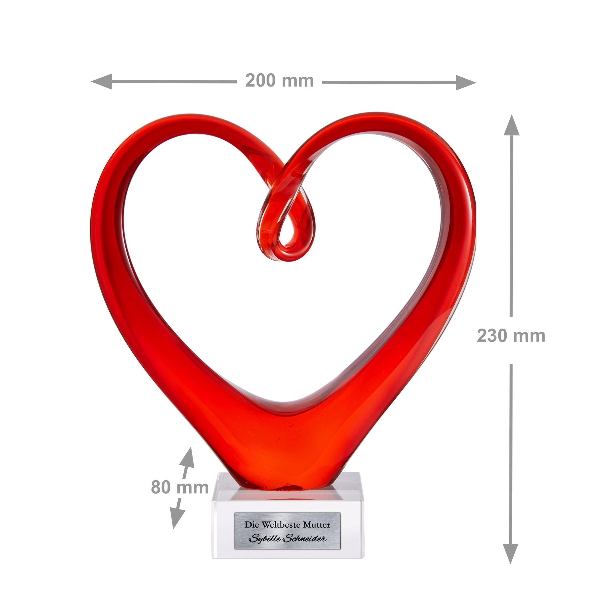 Herz aus Glas mit Gravur für Mama - Personalisiert