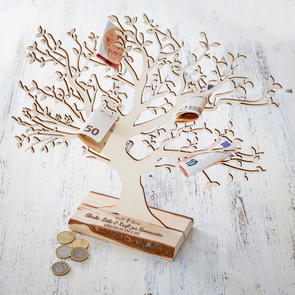 Geldbaum mit Gravur zur Kommunion - Personalisiert - Groß