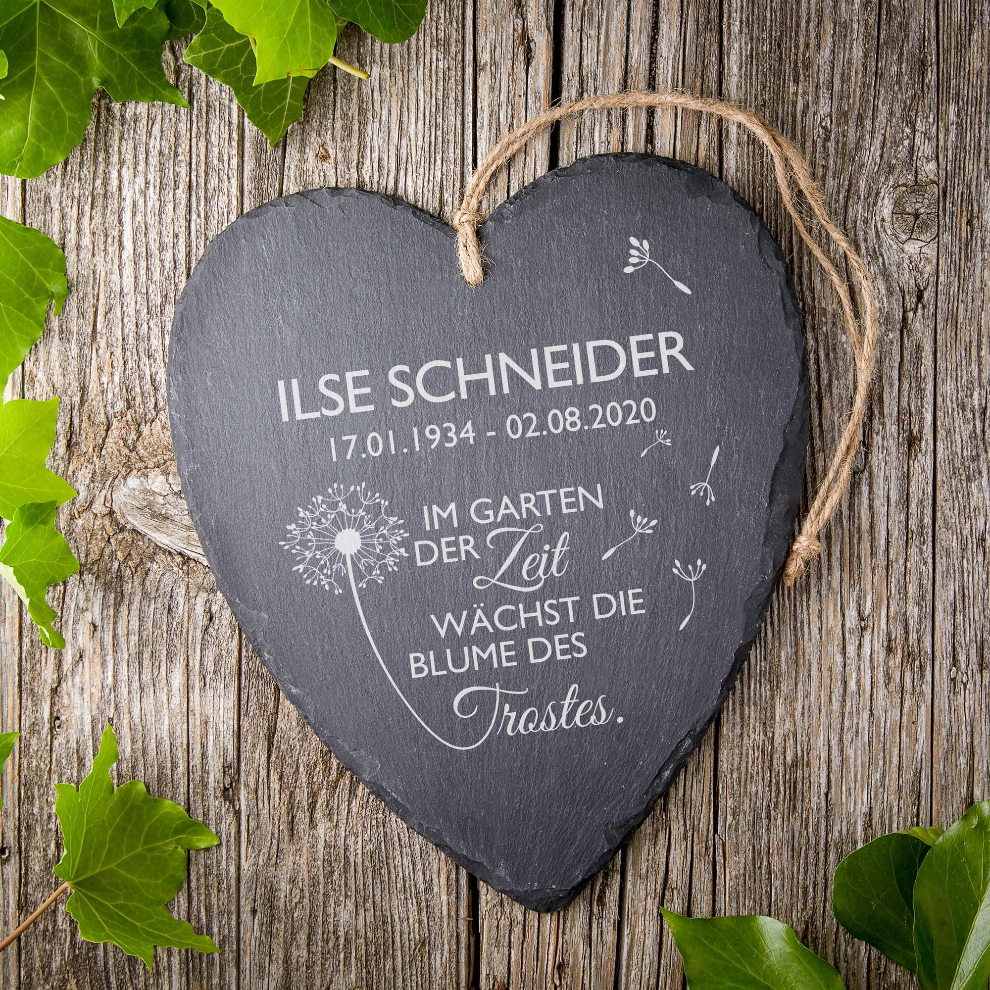 Schieferherz - Trauer - Blume - Personalisiert
