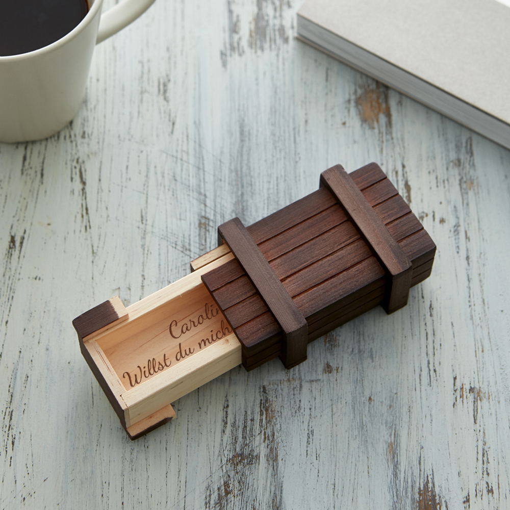 Magische Geschenkbox - Heiratsantrag - Personalisiert - Dunkles Holz
