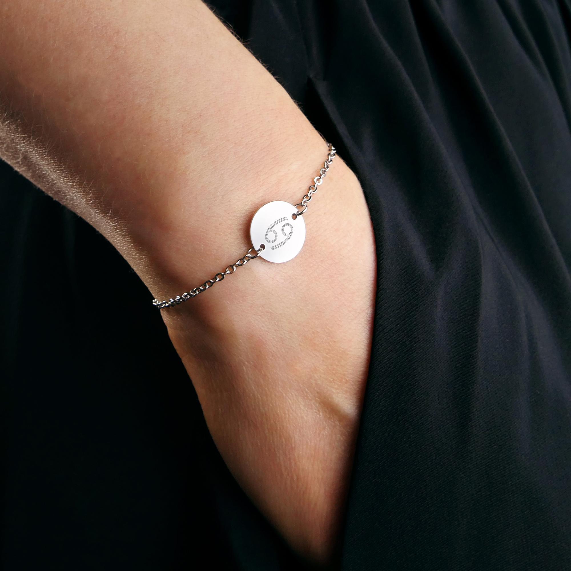 Armkettchen mit Gravur - Sternzeichen - Silber - Kurz - Personalisiert