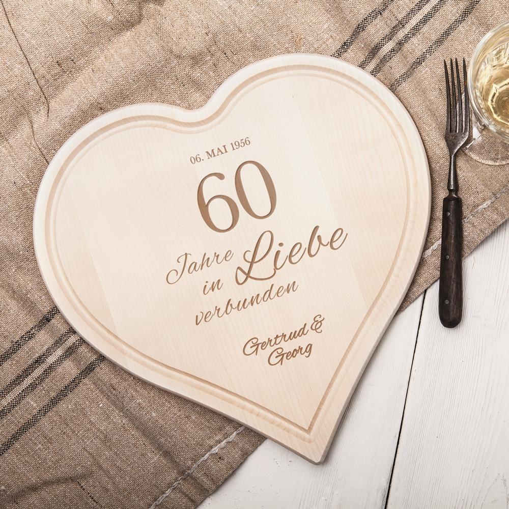 Herzbrett mit Gravur - Diamantene Hochzeit - Personalisiert