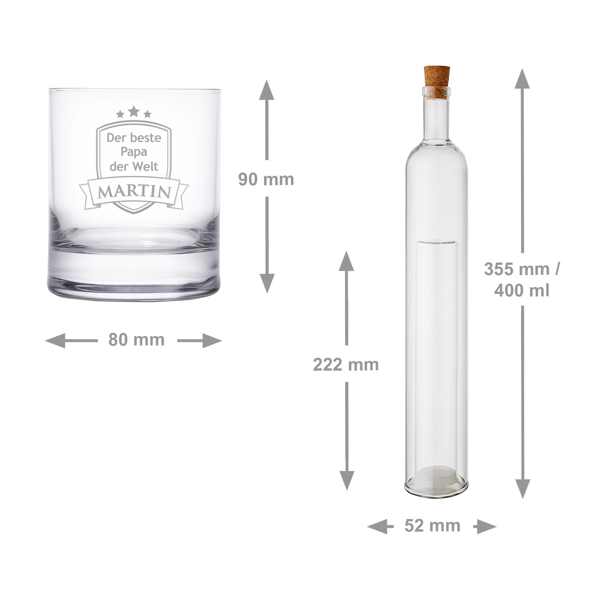 Bundle - Hohlraumflasche - Whiskyglas - Bester Papa - Personalisiert
