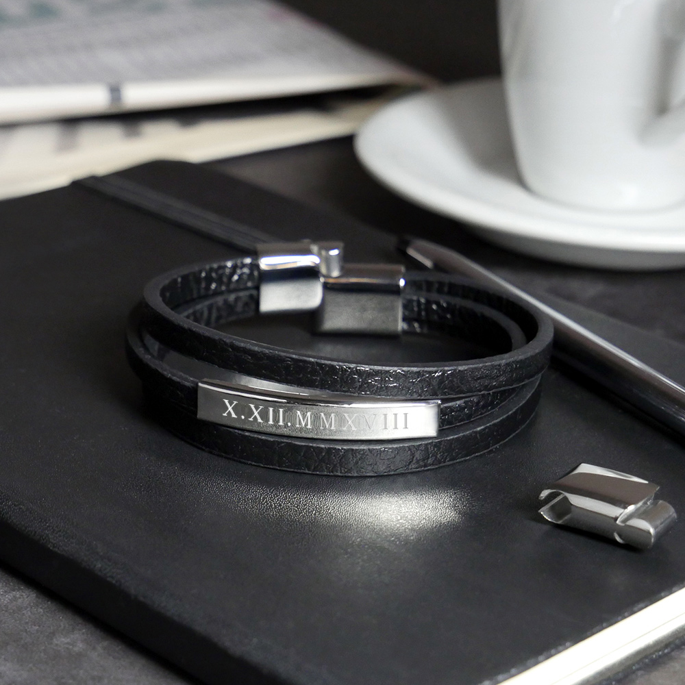 Herrenarmband mit Gravur - Leder Armband - Römische Zahlen