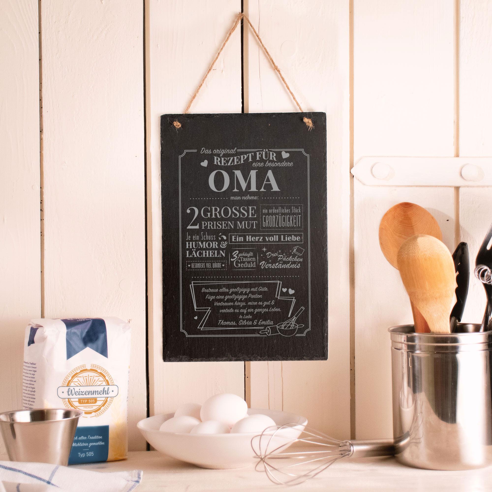 Personalisierte Schiefertafel mit Gravur Rezept Oma - Groß