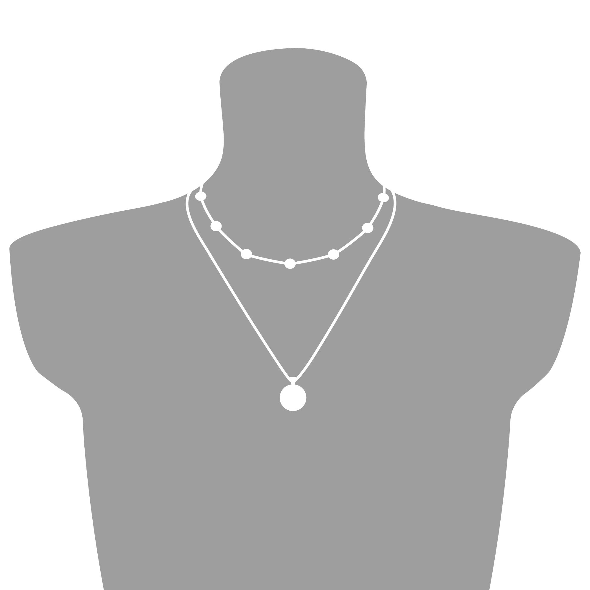 Schmuckset Silber mit Globus & Layering Kette - Koordinaten