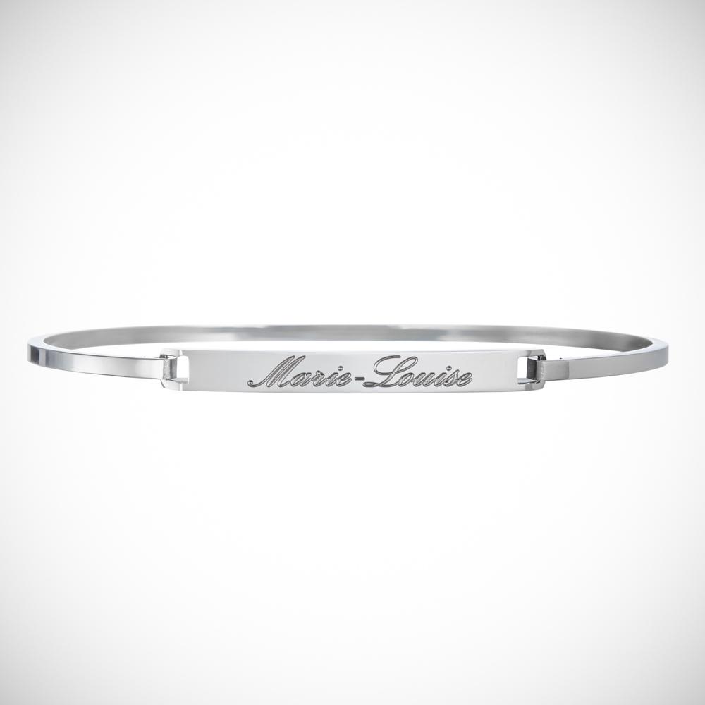Armreif mit Gravur des Wunschnamens - Silber - Personalisiert