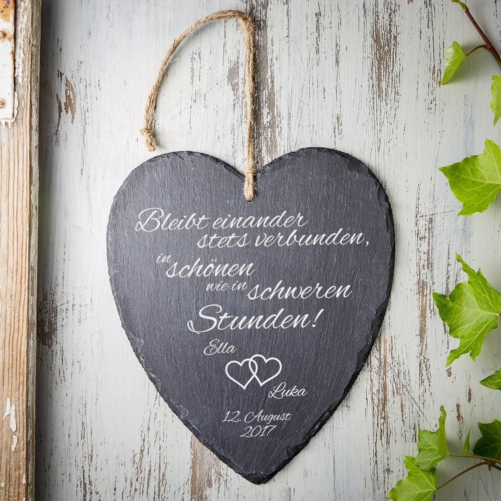 Schieferherz zur Hochzeit