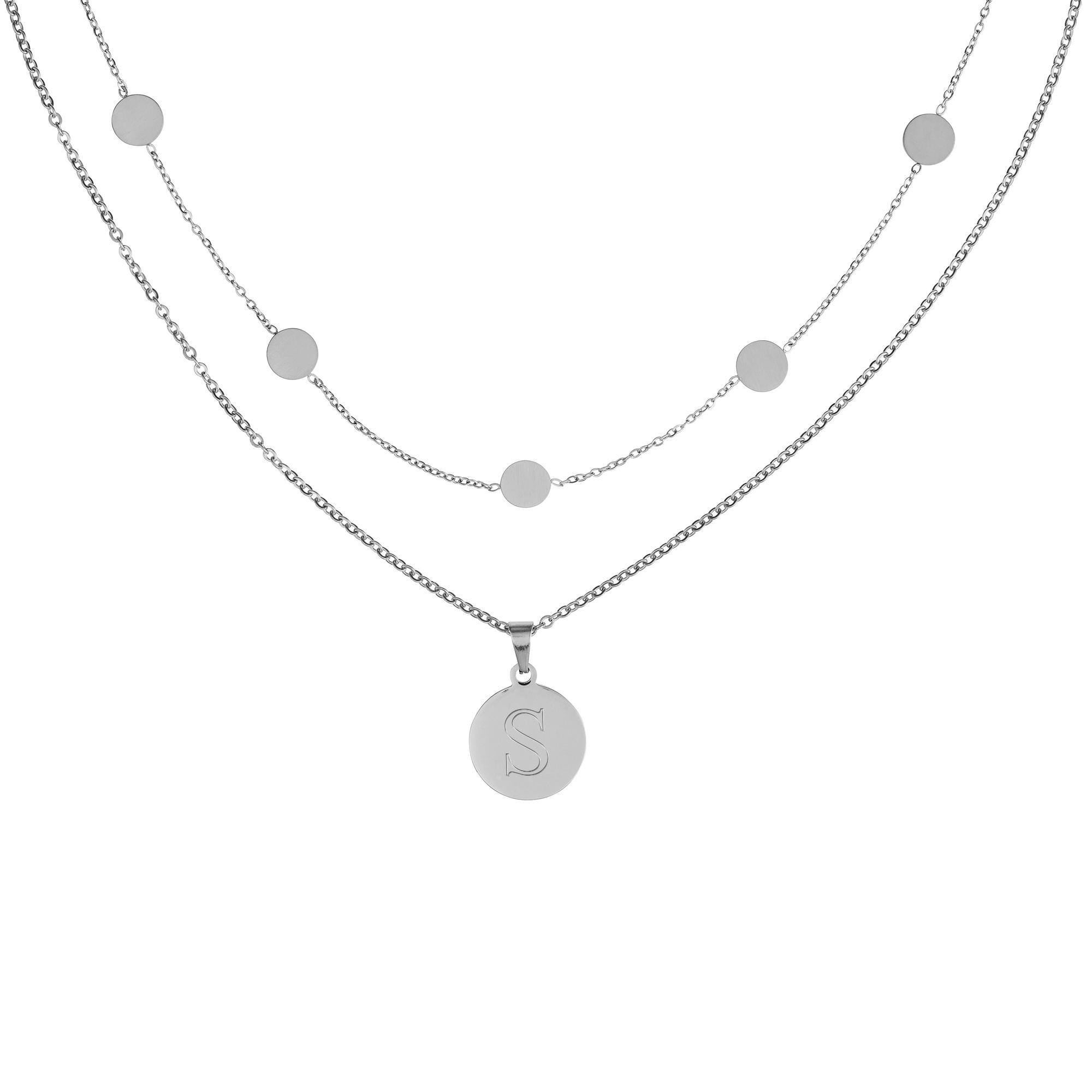 Set - Layering Kette und Halskette mit Anhänger -Initial - Silber