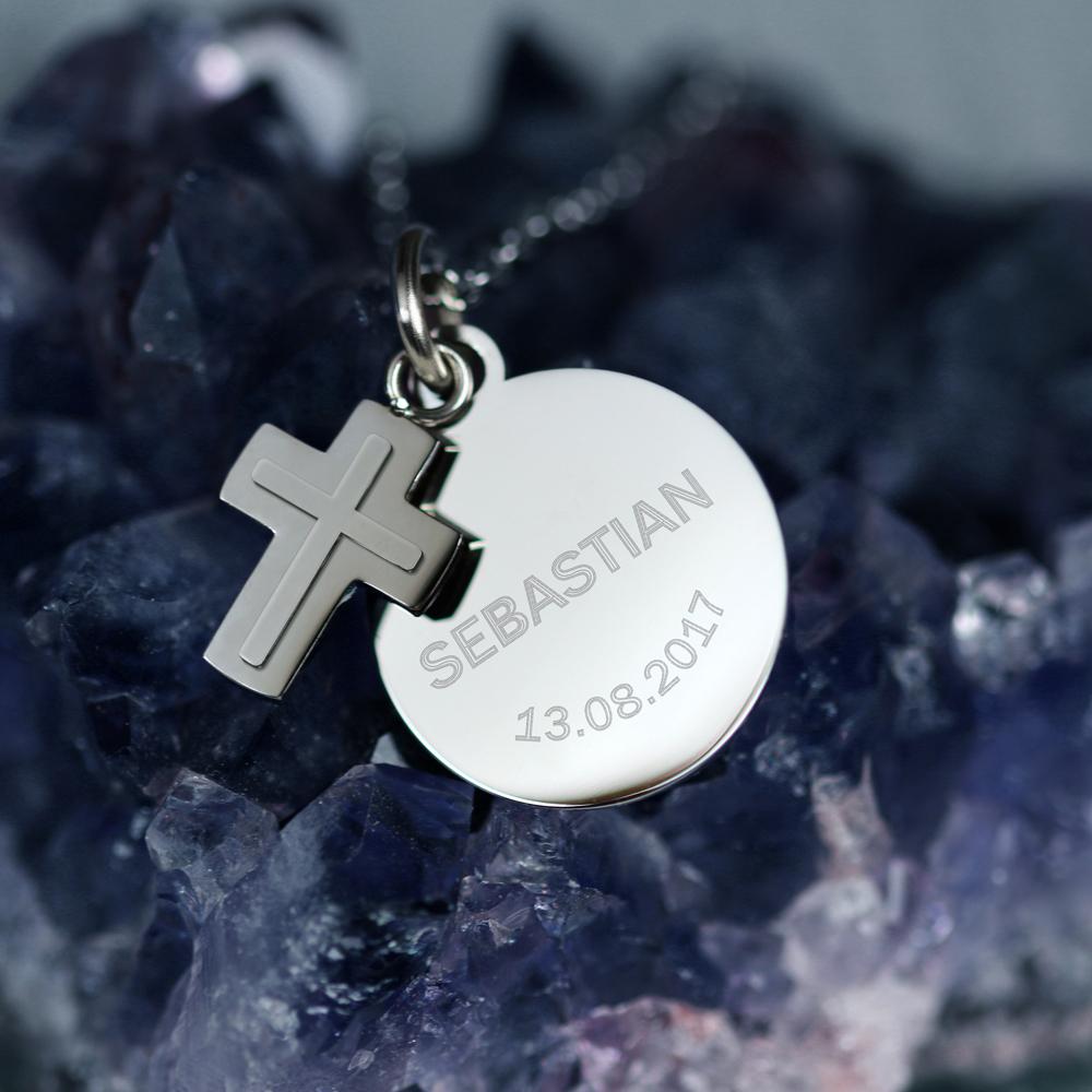 Halskette mit Gravur -  Kreuz Anhänger und Plakette - Personalisiert