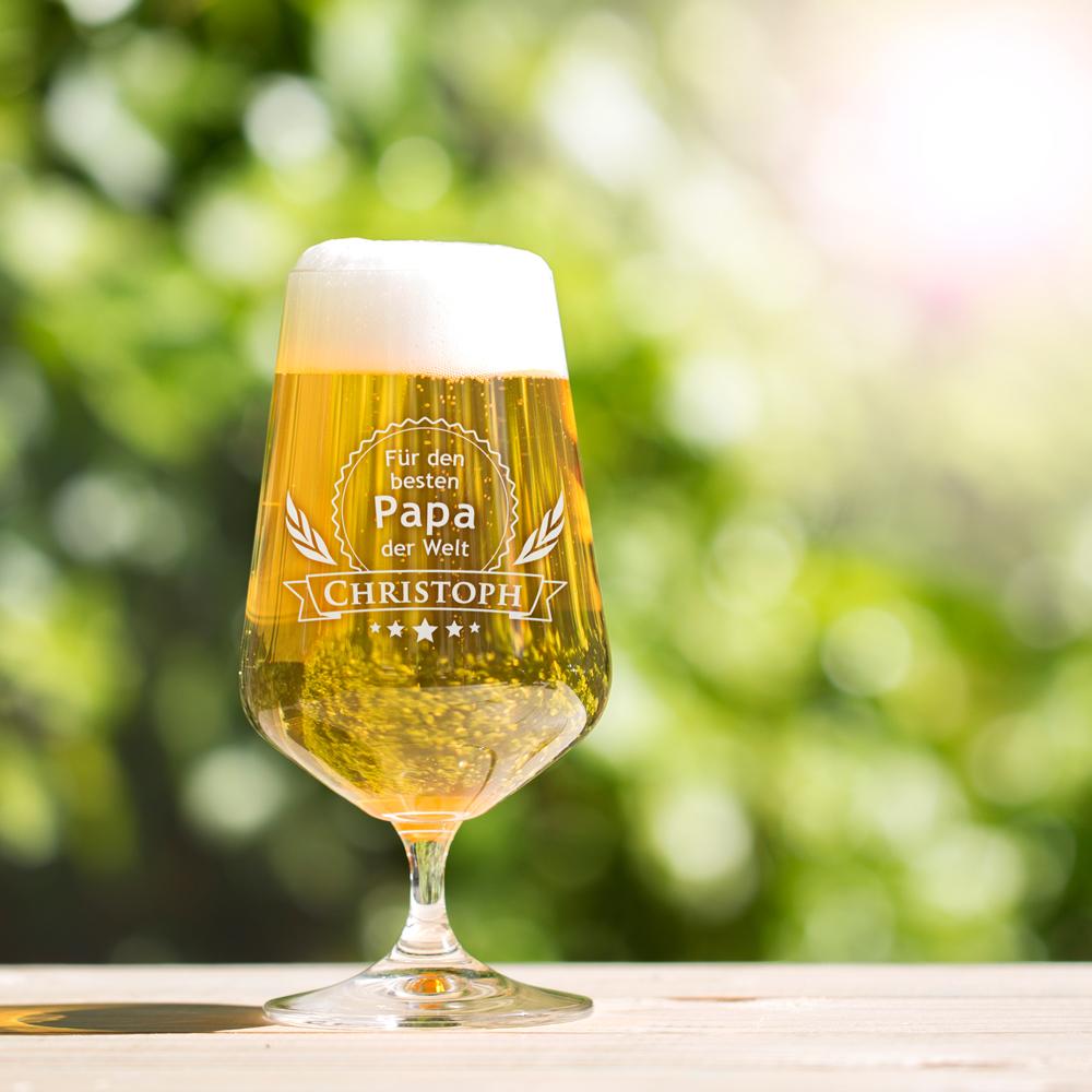 Bierglas mit Gravur Bester Papa - Motiv Eichenblätter