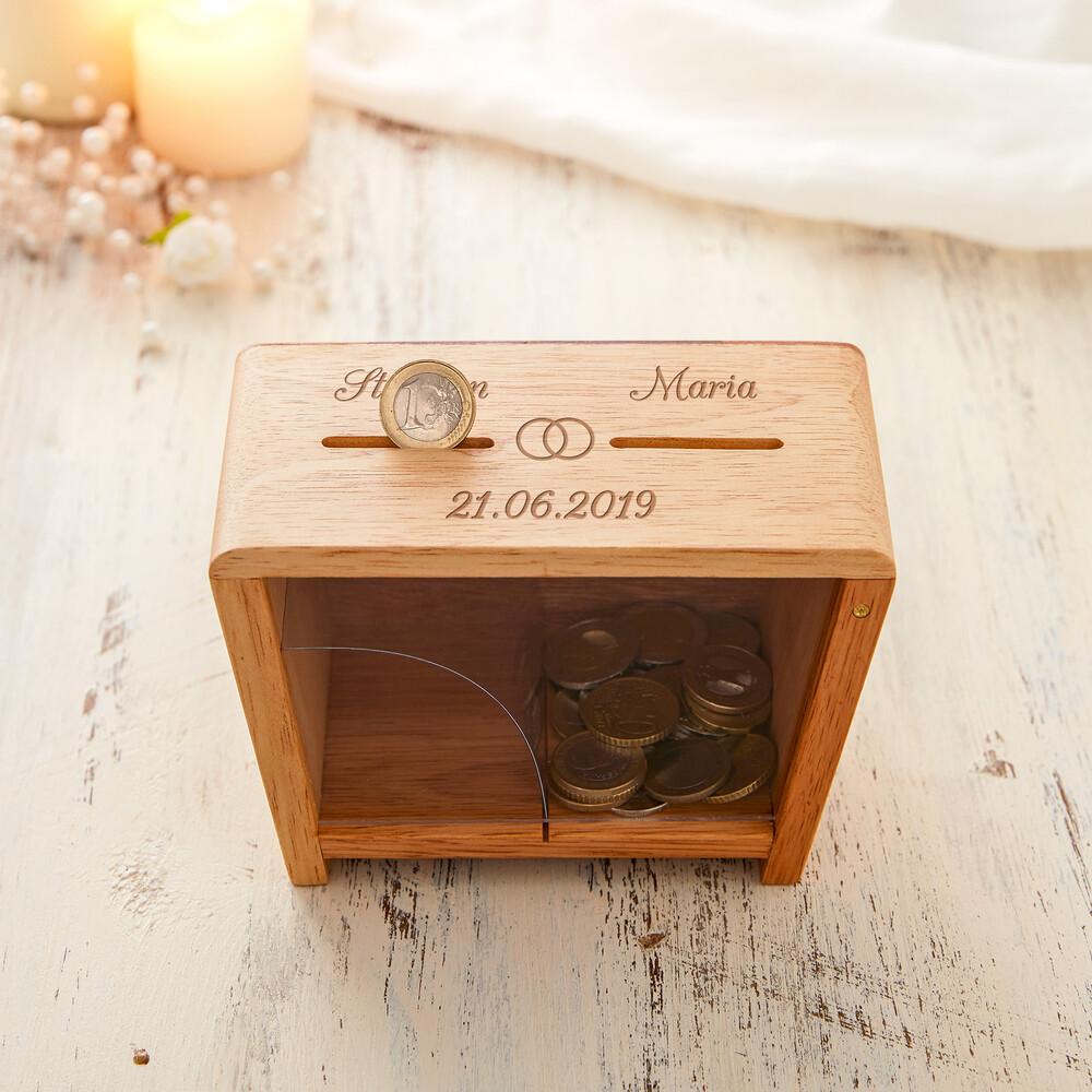 Holz Spardose zur Hochzeit mit Namen und Datum - Er und Sie