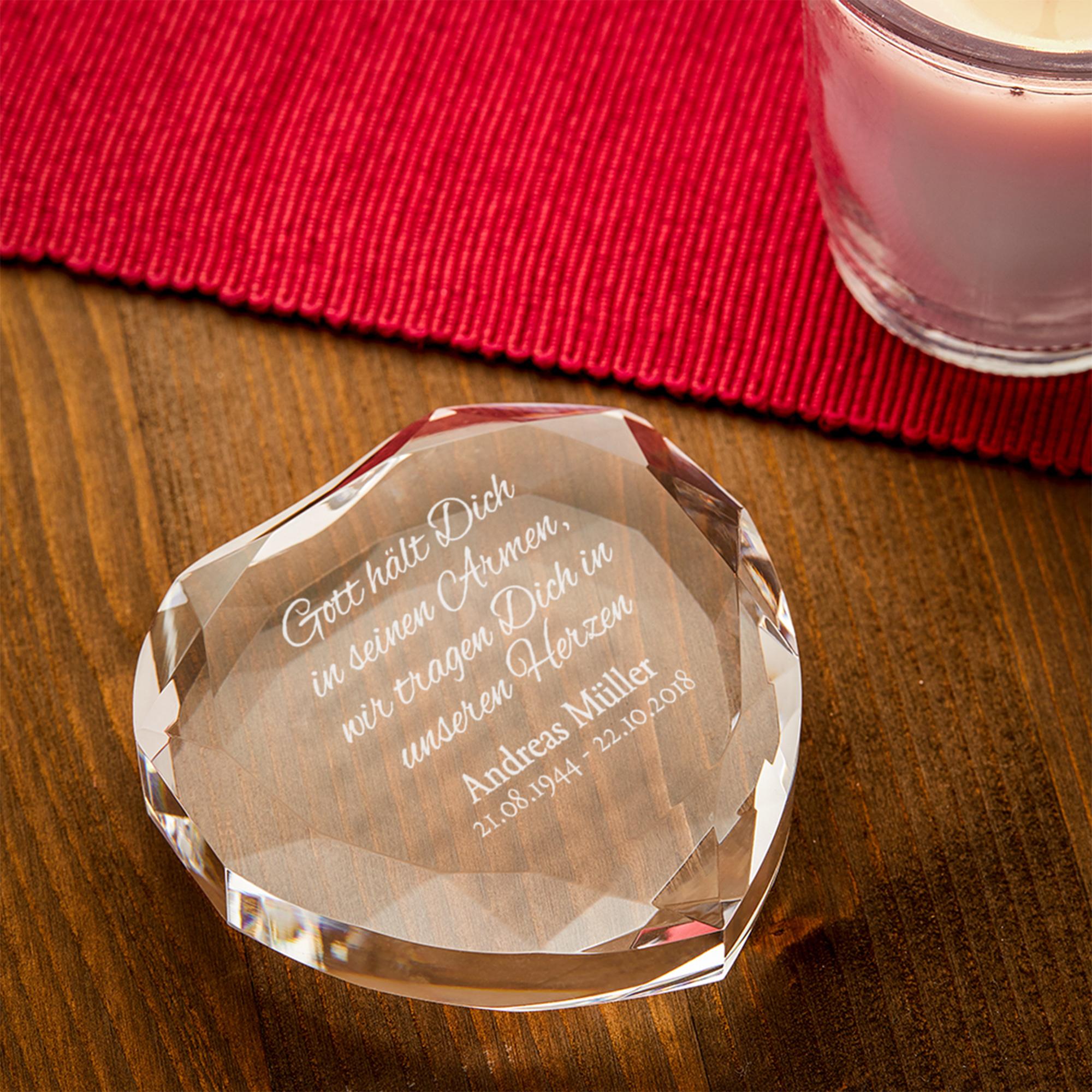 Herzkristall aus Glas mit Gravur - Trauerspruch - Personalisiert